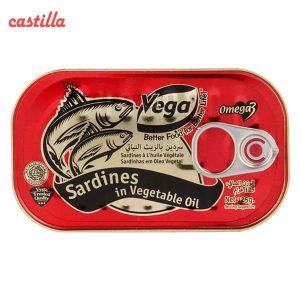تن ماهی ساردین وگا با روغن گیاهی وزن 125 گرم